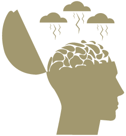 Brainstorming - Head with thunderstorm clouds illustration