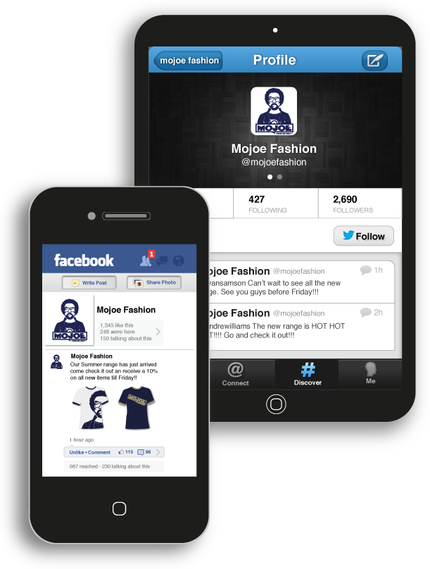Image illustrating social media interfaces (Facebook and Twitter).